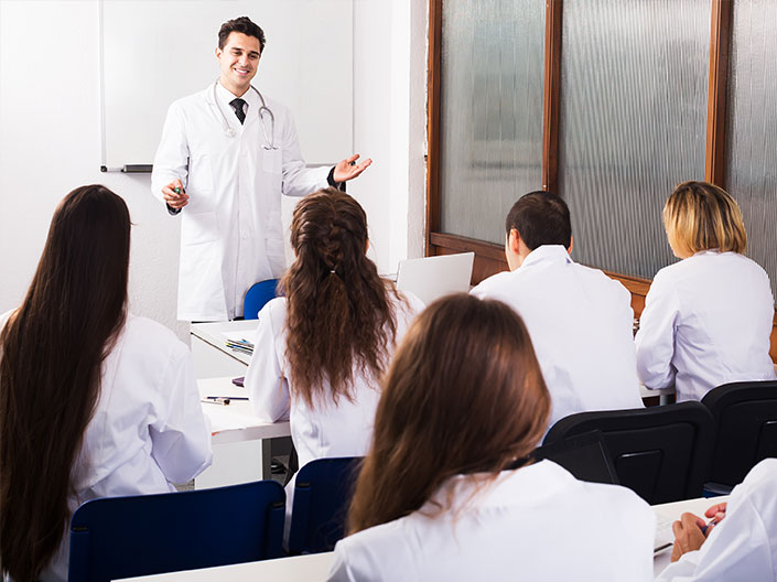 Man presenting to classroom